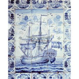 12 Tile Antique Ship Tile Panel Dated 1790