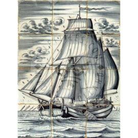 12 Tile Antique Ship Tile Panel Dated 1800