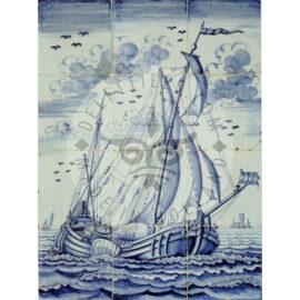 12 Tile Antique Blue White Ship Panel