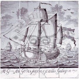 16 Tile Ship Panel Dated 1775