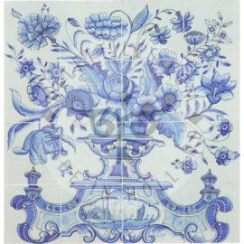 16 Tile Antique Panel Blue And White Delft