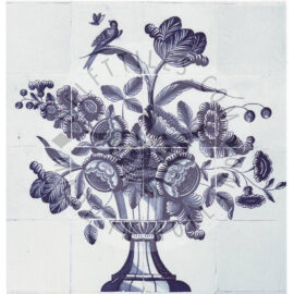 16 Tile Floral Tile Panel With Bird
