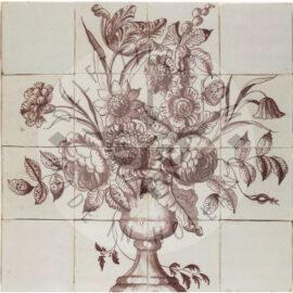 16 Tile Sepia Antique Floral Tile Panel