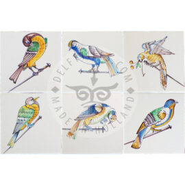 17th Century Polychrome Bird Tiles (VS_mc)