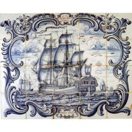 20 Tile Ship Tile Panel 'handelaer' Dated 1760