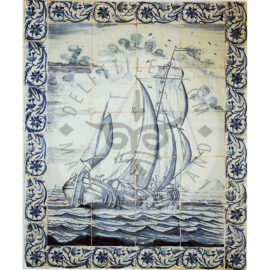 20 Ship Tile Panel Antique With Border