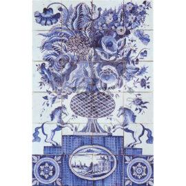 24 Tile19th Century Antique Tile Panel