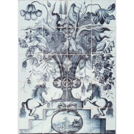 24 Tile 19th Century Antique Tile Panel With Horses