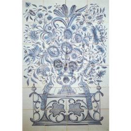 24 Tile Antique Delft Blue And White Panel