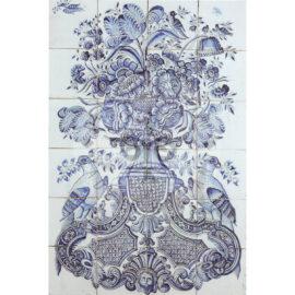 24 Tile Antique Floral Tile Panel