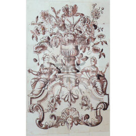 24 Tile Sepia Floral Panel With 2 Women