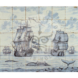 30 Antique Ship Tile Panel Dated 1750