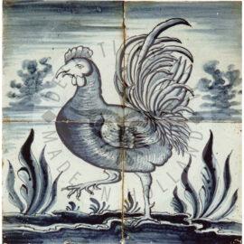 4 Animal On Tile Panel Dated 1790