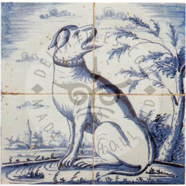 4 Tile Dog Tile Mural Dated 1800
