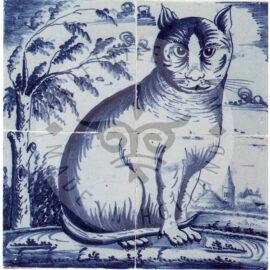 4 Tile Sitting Cat Tile Mural Dated 1800