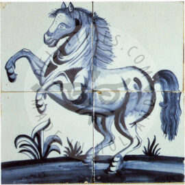 4 Tile Horse On Tile Panel Dated 1810