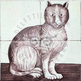 4 Tile Sepia Antique Cat Panel Dated 1870