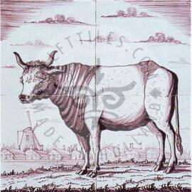 4 Tile Potter Sepia Cow Panel