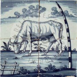4 Tile Delft Blue Tile Panel Dated 1800