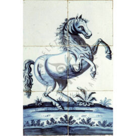 6 Tile Antique Panel With Horse Anno 1770
