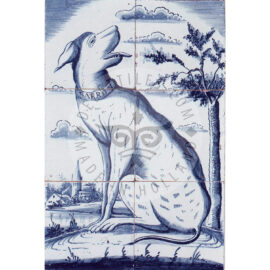 6 Tile Dutch Delft Dog Panel Dated 1800