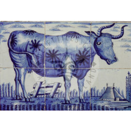 6 Tile Antique Tile Panel With Cow Dated 1850