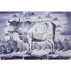 6 Tile Delft Blue Paulus Potter Cow