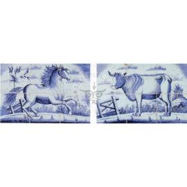 6 Tile Pendant Horse & Cow Tile Panel