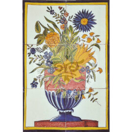 6 Tile Polychrome Flower Piece Tile Panel