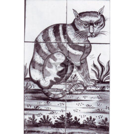 6 Tile Sitting Cat Tile Panel Dated 1800