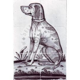 6 Tile Sitting Dog Tile Panel Dated 1800