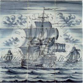 9 Tile Harlingen Ship Tile Panel Antique