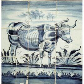9 Tile Paulus Potter Delft Blue Cow Panel Dated 1790