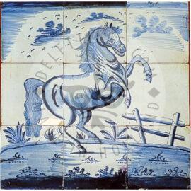 9 Tile Delft Blue Horse Panel Dated 1790