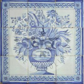 9 Tile Delft Blue Floral Piece Panel