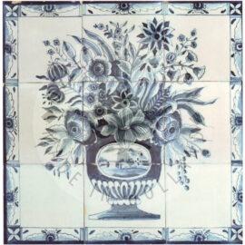 9 Tile Floral Flower Tile Panel