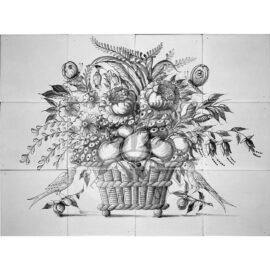 Fruit Flower Mural Black 4×3 Tiles (BM12c_zw)