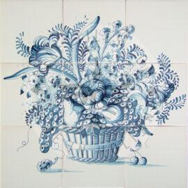 Flower & Fruit Basket Mural 3×3 Tiles (BM9a)