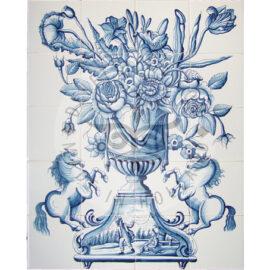 Flower Vase With Horses Mural 4×5 Tiles (BV20b)
