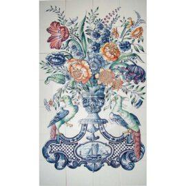 Flower Vase Mural Birds 4×7 Tiles (BV28a_mc)