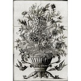 Flower Vase Mural Black 2×3 Tiles (BV6a_zw)