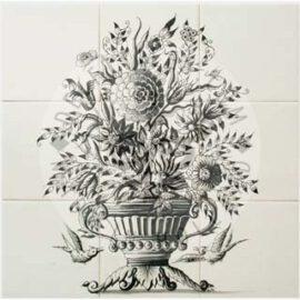 Flower Vase Mural Black 3×3 Tiles (BV9b_zw)
