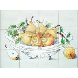 Colander With Pears & Apples Panel 4×3 Tiles (HF12m)
