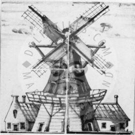 Windmill Mural Black 2×2 Tiles