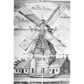Windmill  Mural Black 2×3 Tiles