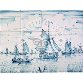 Harbour Boat Scene 4×3 Tiles