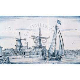 Landscape Windmill Boat Scene 5×3 Tiles