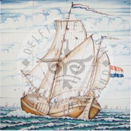 Sailing Ship Multi Color 4×4 Tiles