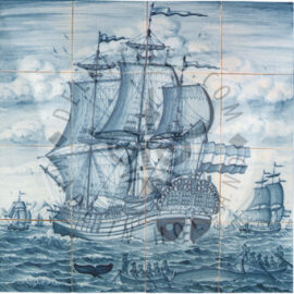 Three Masted Ship Whale Hunt 4×4 Tiles