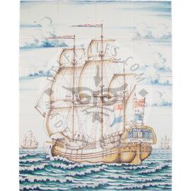 Three Masted Ship Multi Color 4×5 Tiles